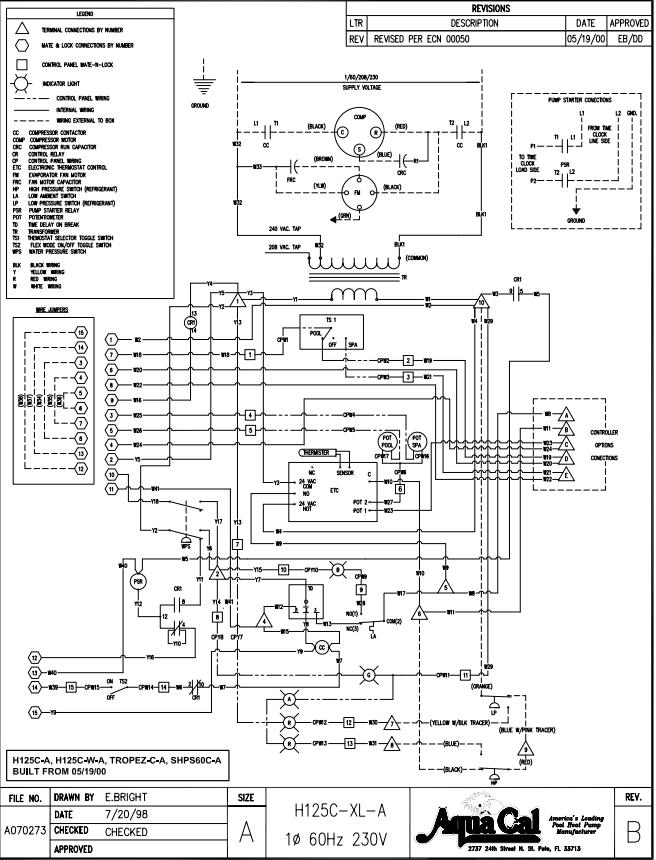 Aqua Cal Heatwave H125C-A WIring Diagram