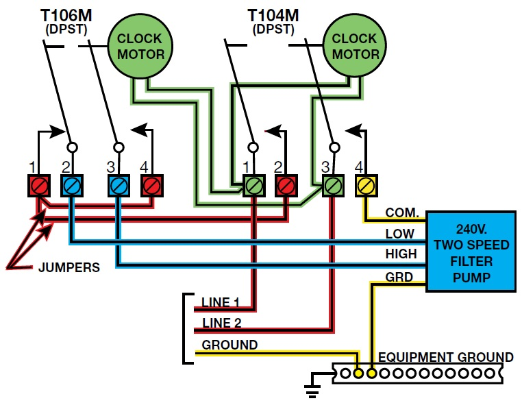 pool pump setup diagram alarm wiring remote start how to install a 2 speed motor and t106 timer inyopools com step 56