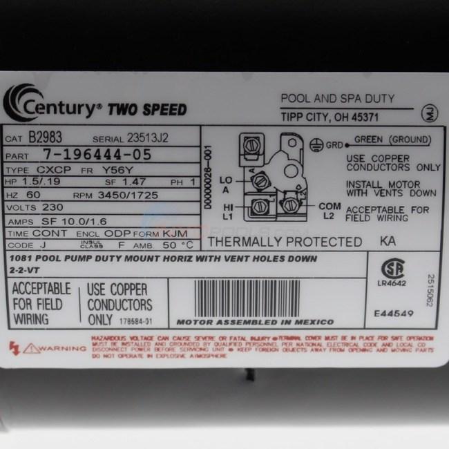 century 15 hp square flange 56y dual speed full rate motor  b2983