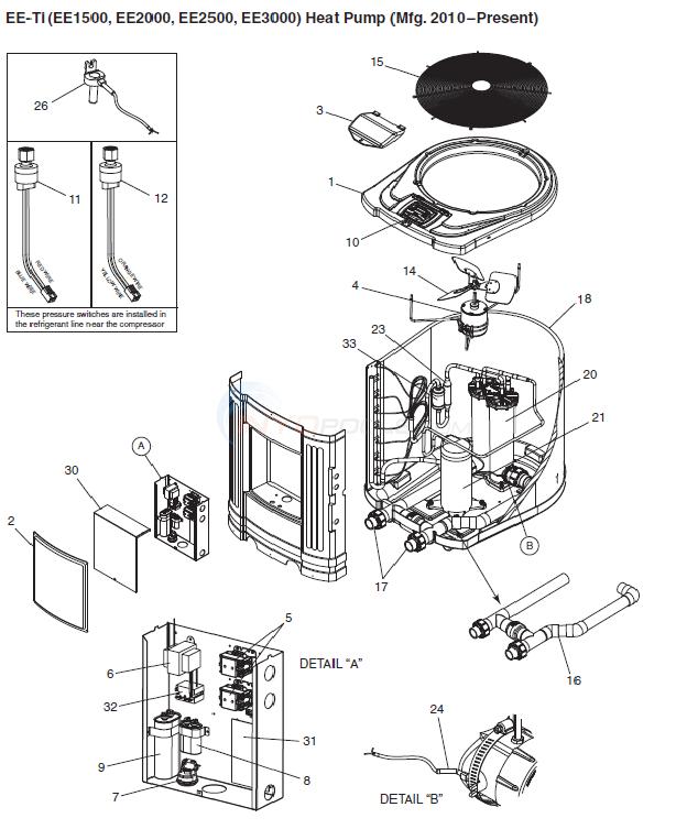 Heat Pump Parts Diagram : parts, diagram, Jandy, EE-TI, Parts, INYOPools.com