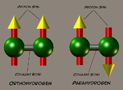 Parahydrogen and orthohydrogen spin isomers of hydrogen