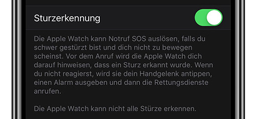 Apple Watch Fall detection info