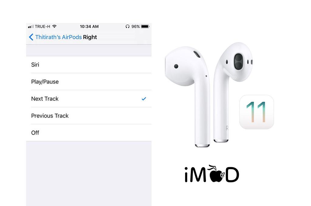 iOS 11 Beta 1 มีฟีเจอร์ตั้งค่าเคาะหูฟัง AirPods แต่ละข้าง