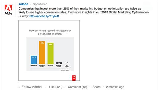 """Une publicité """"statut sponsorisé"""" par Adobe sur LinkedIn"""