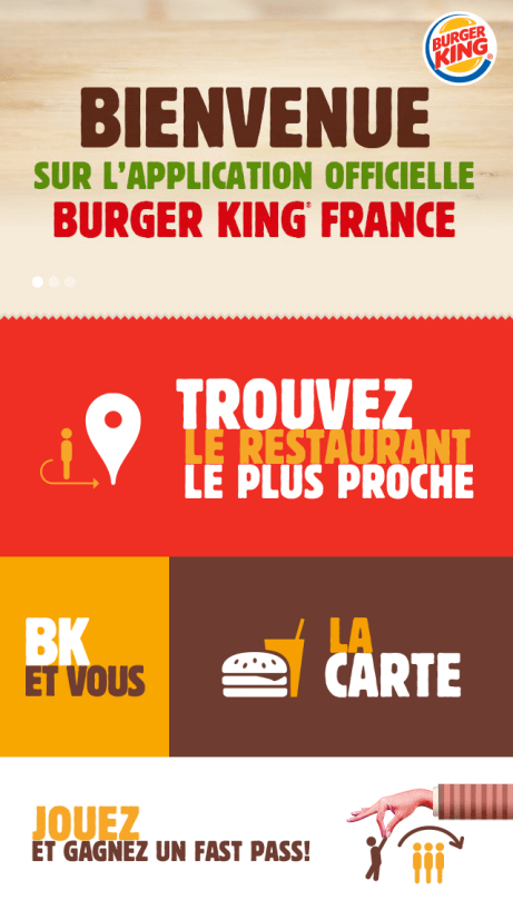 Écran d'accueil de l'application mobile Burger King