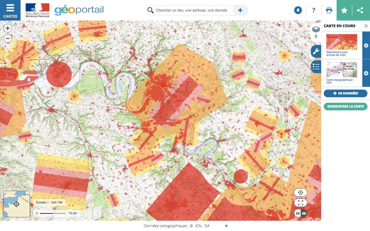 Geoportail avec cartes pour drones