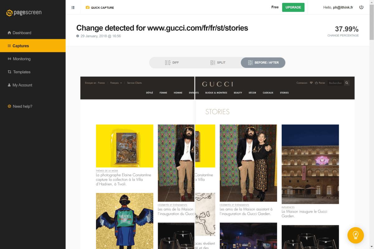 PageScreen.io - trois modes de vues sont disponibles : par différences, par comparaison ou vue superposée