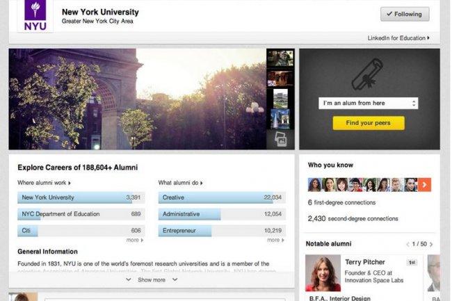 Linkedin s'est ouvert aux étudiants en créant ses pages Université. Crédit: D.R