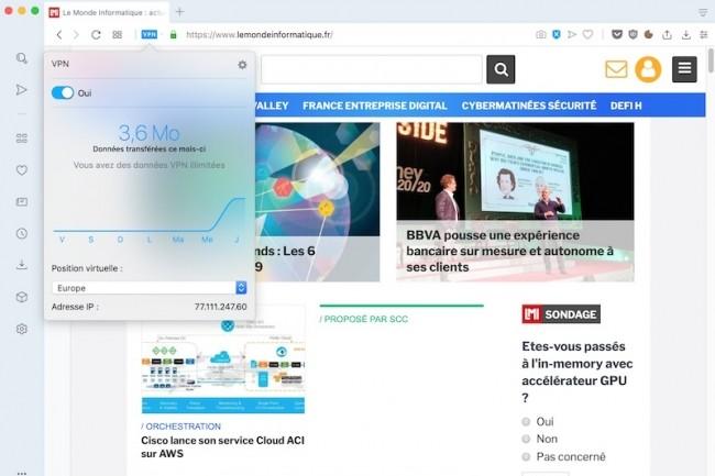 Le VPN - proxy en fait - d'Opera pourrait bien attirer davantage d'utilisateurs vers le navigateur. (Crédit : D. R.)