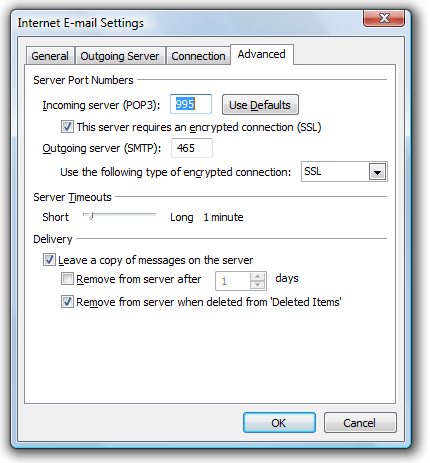 Outlook configuration for Google Accounts
