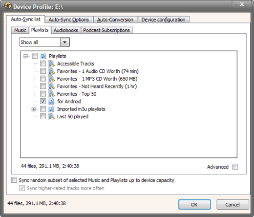 Configure Android Media Monkey sync
