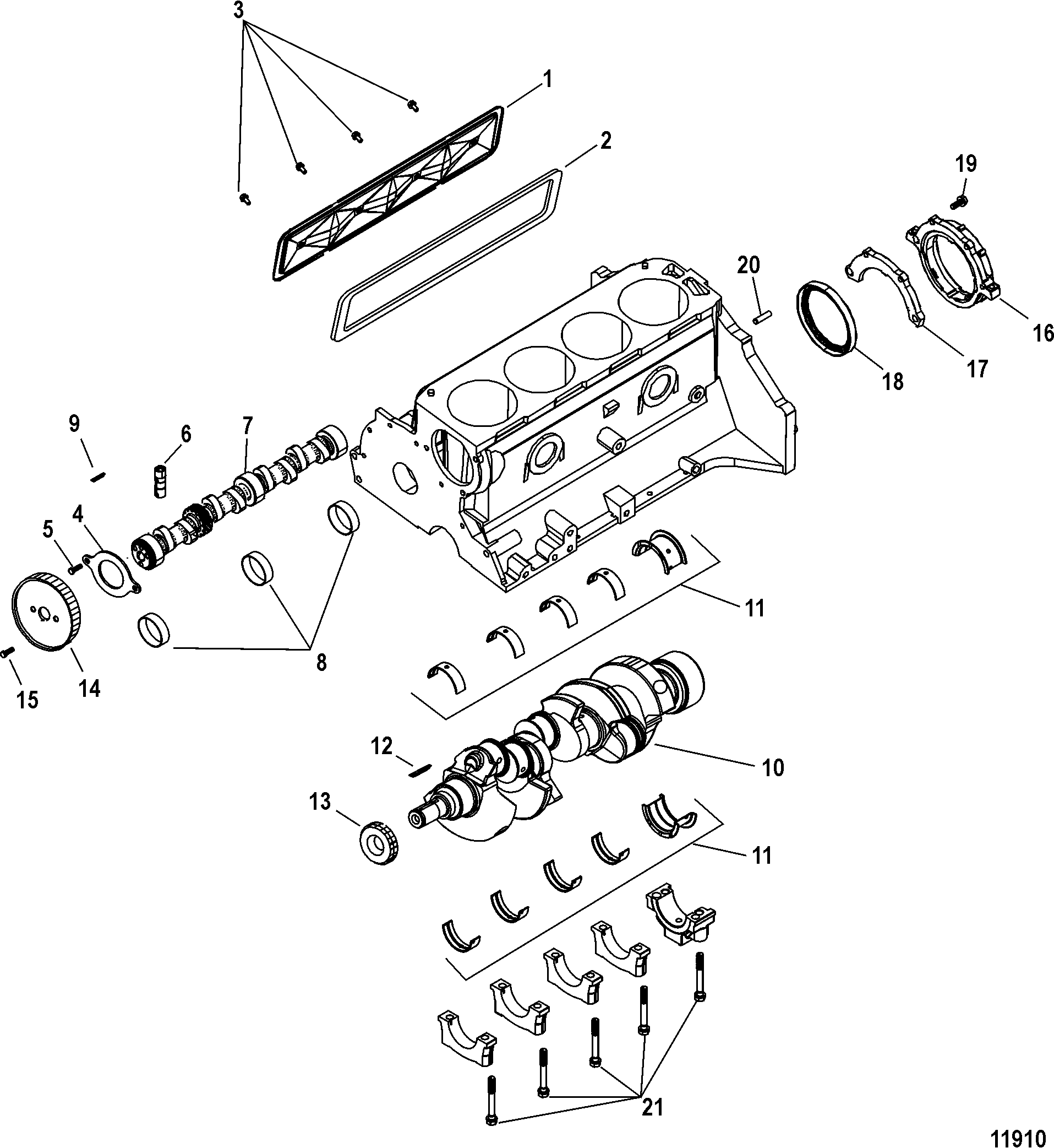 Cylinder Block, Crankshaft and Camshaft FOR MERCRUISER 3