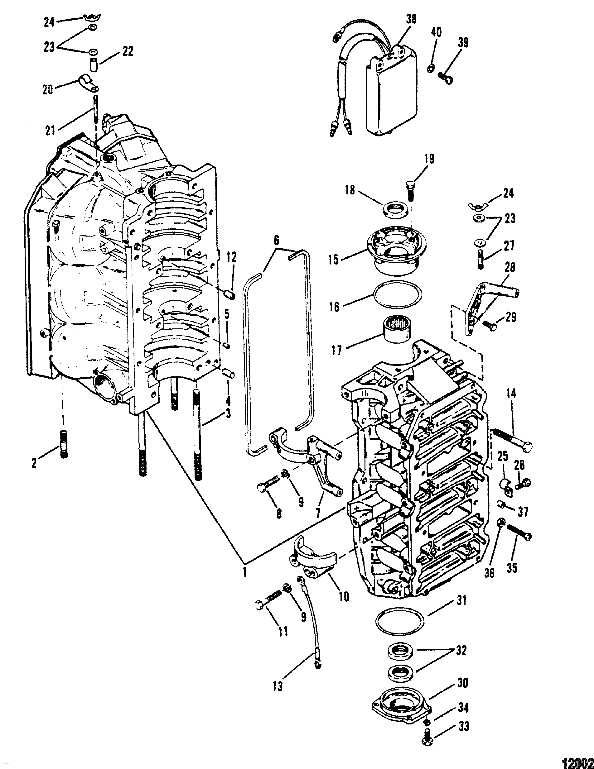 Cylinder Block And End Caps FOR MARINER / MERCURY 150
