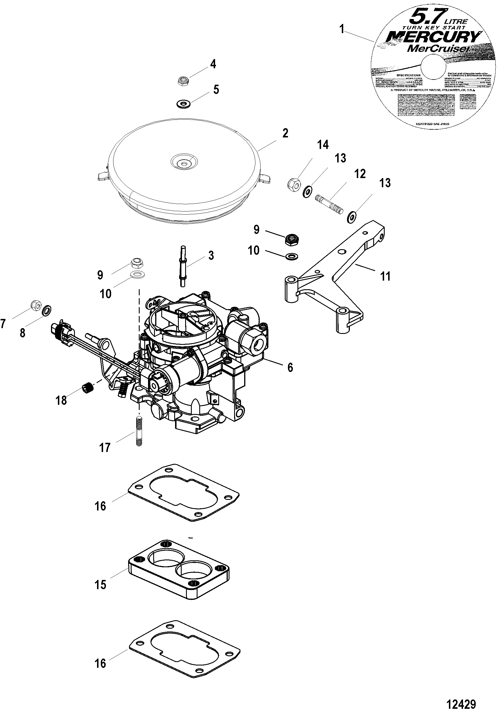 Carburetor And Throttle Linkage For Mercruiser 5 0l 5 7l