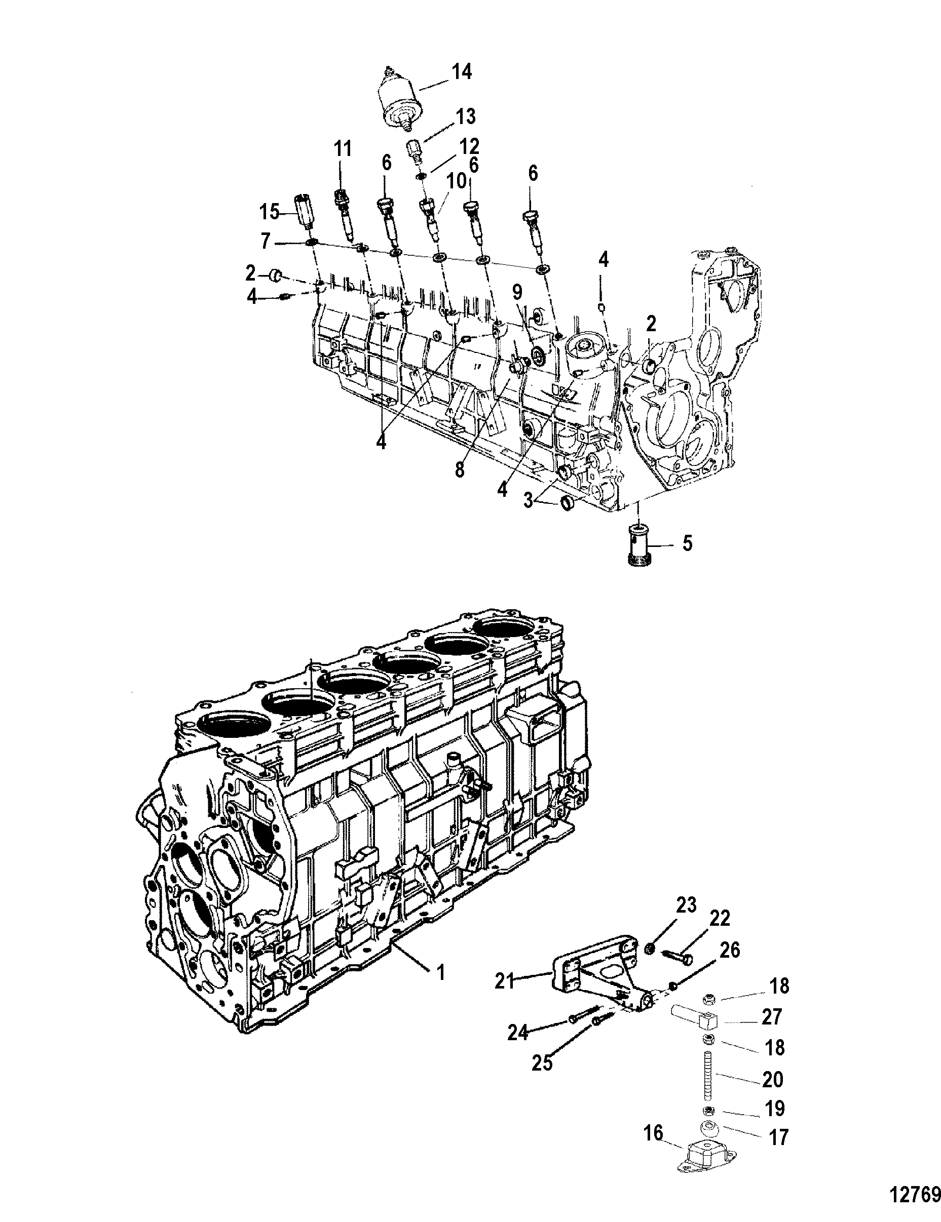 Engine And Cylinder Block FOR MERCRUISER / MIE CUMMINS