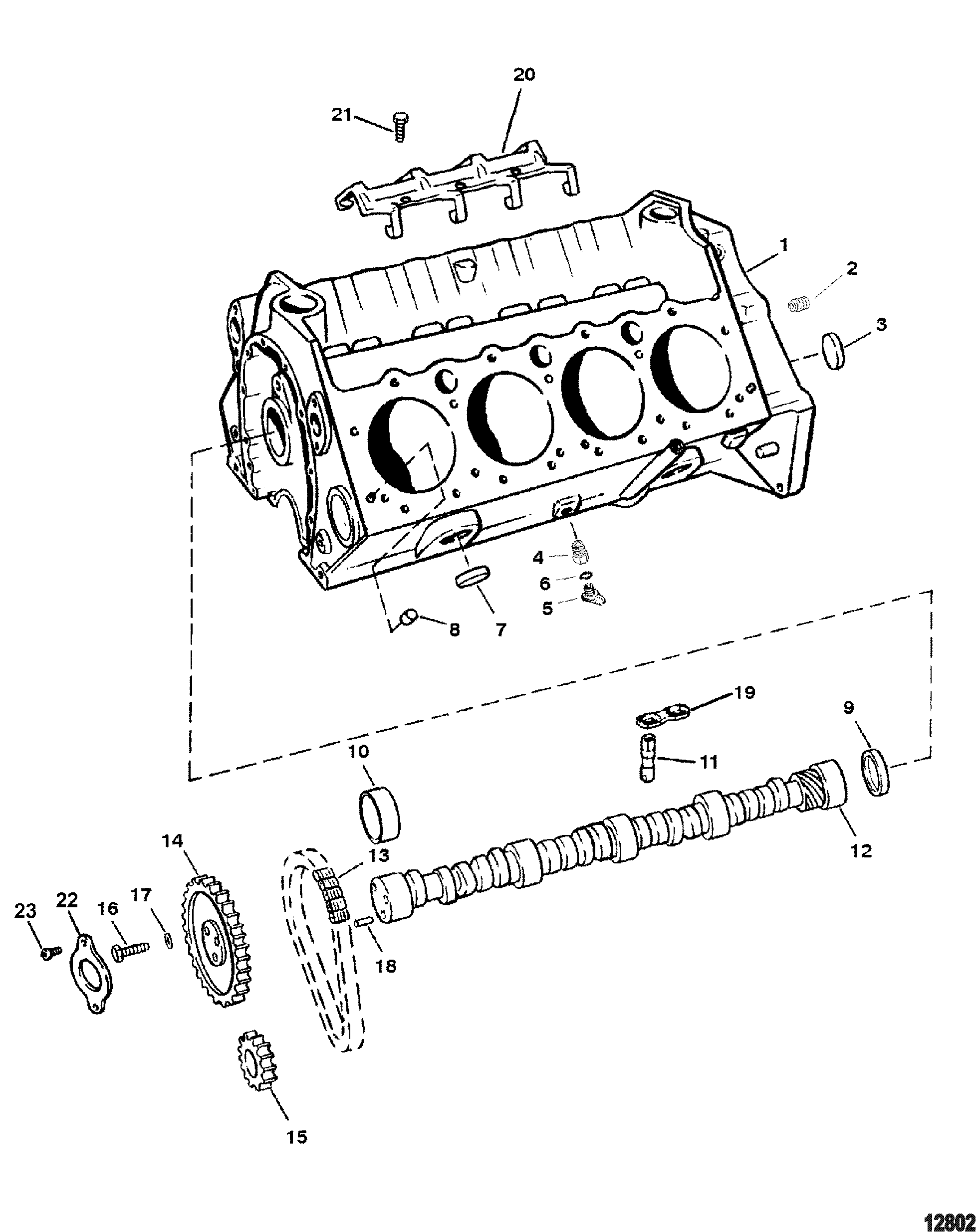 Cylinder Block And Camshaft For Mercruiser Mx 6 2l Mpi