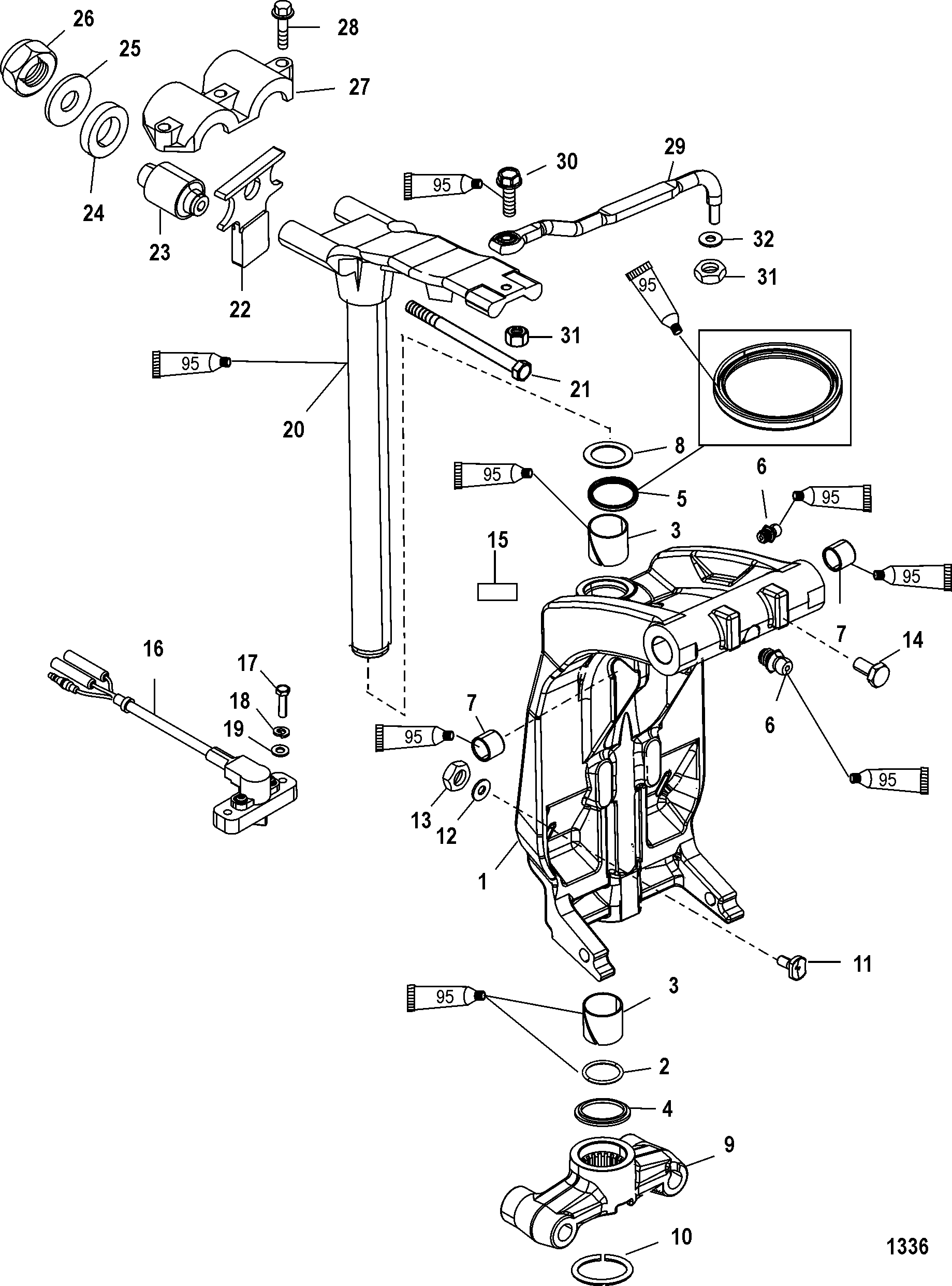 mercury optimax wiring diagram electrical software open source swivel bracket and steering arm for 200 v6 dfi