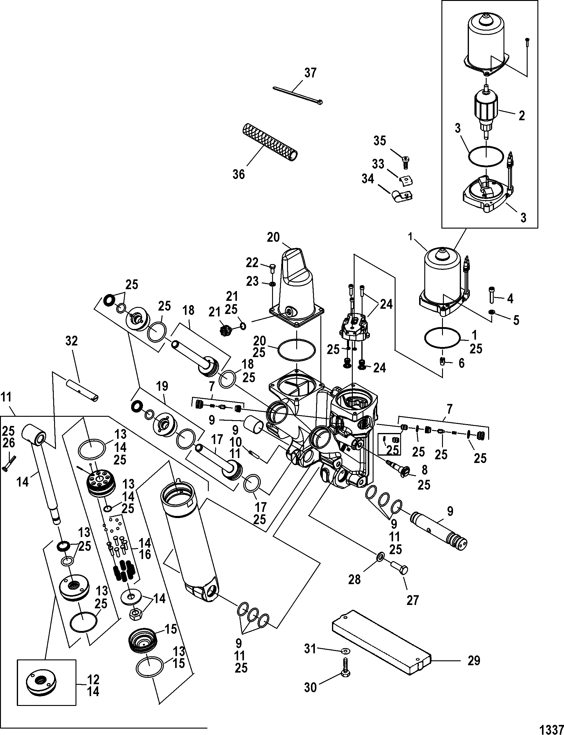 Power Trim Components For Mercury 250 Pro Xs 3 0l