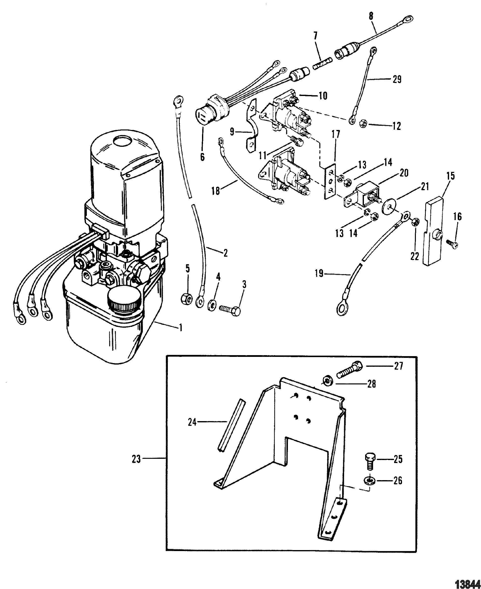 alpha one trim wiring diagram three prong massager hydraulic pump and bracket for mercruiser gen ii
