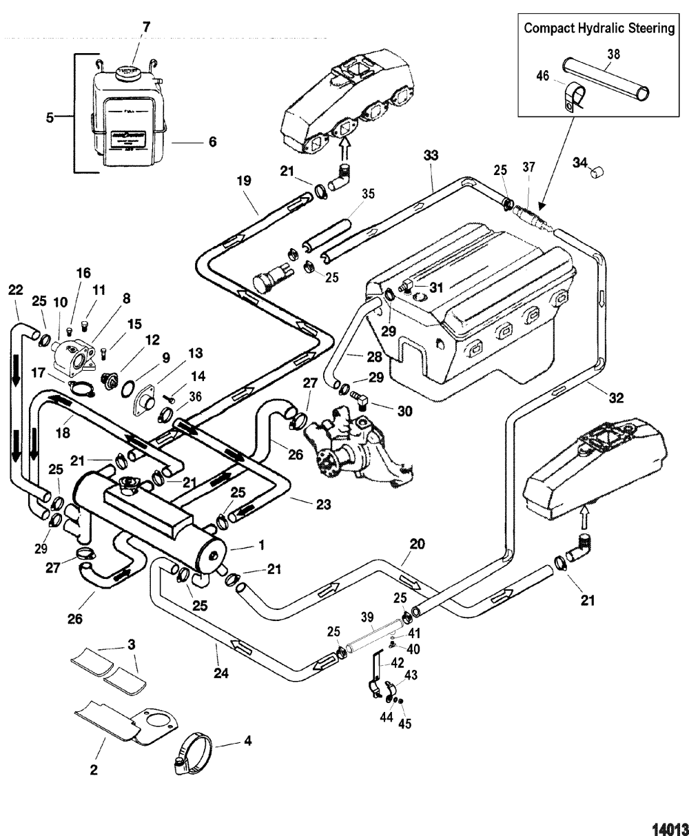 medium resolution of closed cooling system for mercruiser 5 0l 5 7l alpha bravo 1971 monte carlo engine diagram