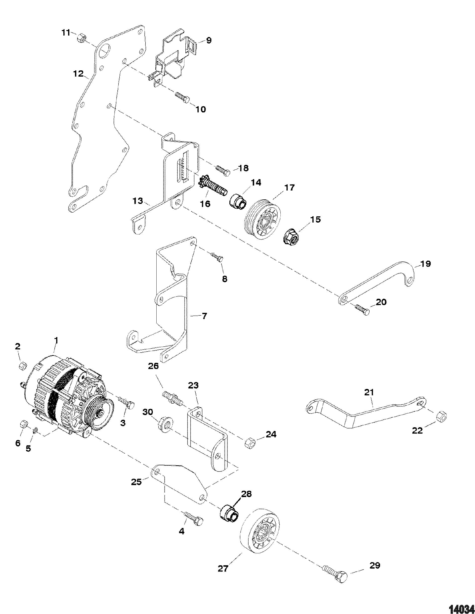 Alternator And Brackets Delco FOR MERCRUISER 4.3L ALPHA