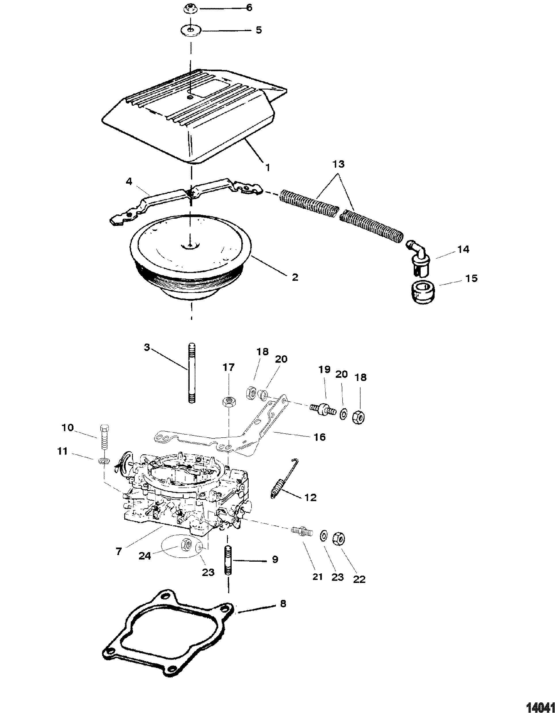 Carburetor And Throttle Linkage Four Barrel FOR MERCRUISER