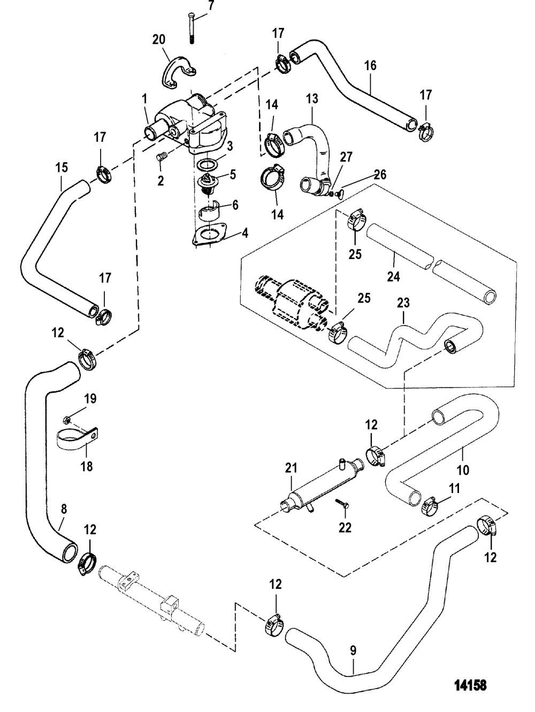 medium resolution of standard cooling system for mercruiser 5 0l efi alpha bravo 5 7l efi alpha bravo gen engine