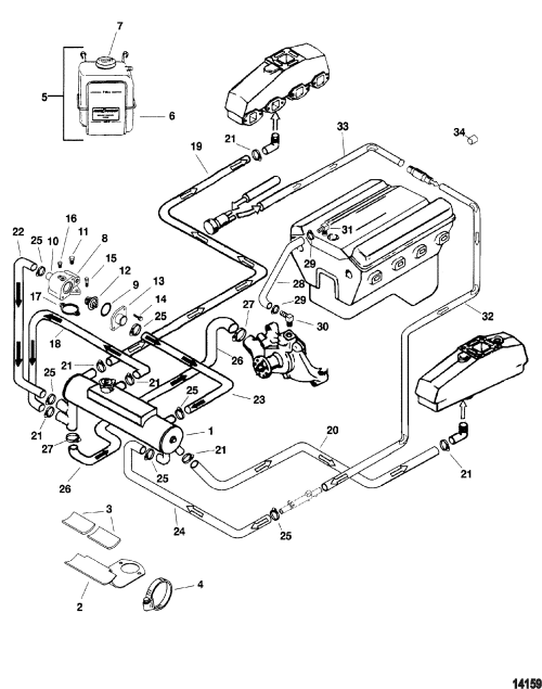 small resolution of closed cooling system for mercruiser 5 0l efi alpha bravo 350 small block chevy engine diagram
