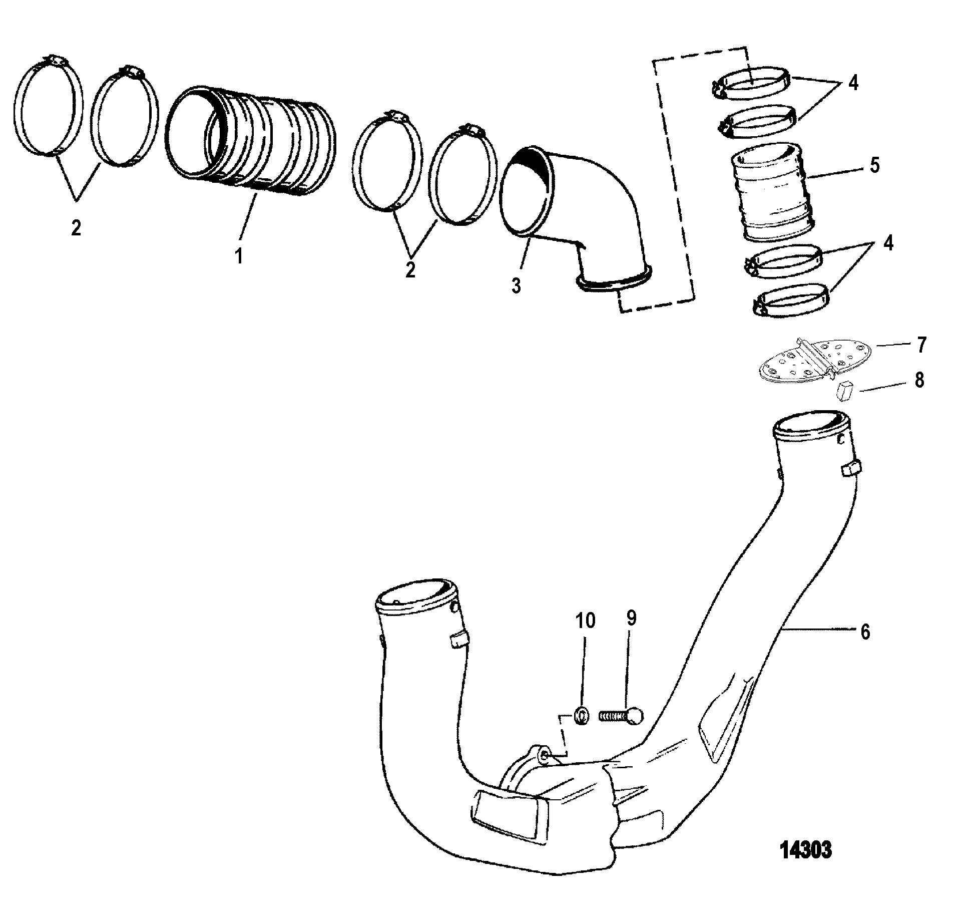 EXHAUST SYSTEM FOR MERCRUISER 4.3L/4.3LX ALPHA ONE ENGINE