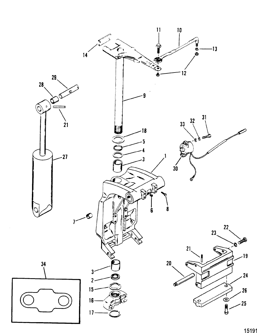 medium resolution of swivel bracket and steering arm for mariner mercury sea ray 100 diagram of 1990 mercury marine sea ray 9100412wd electrical components