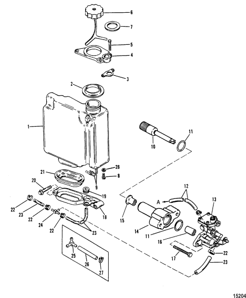 small resolution of oil injection components for mariner mercury sea ray 100 115 diagram of 1990 mercury marine sea ray 9100412wd electrical components