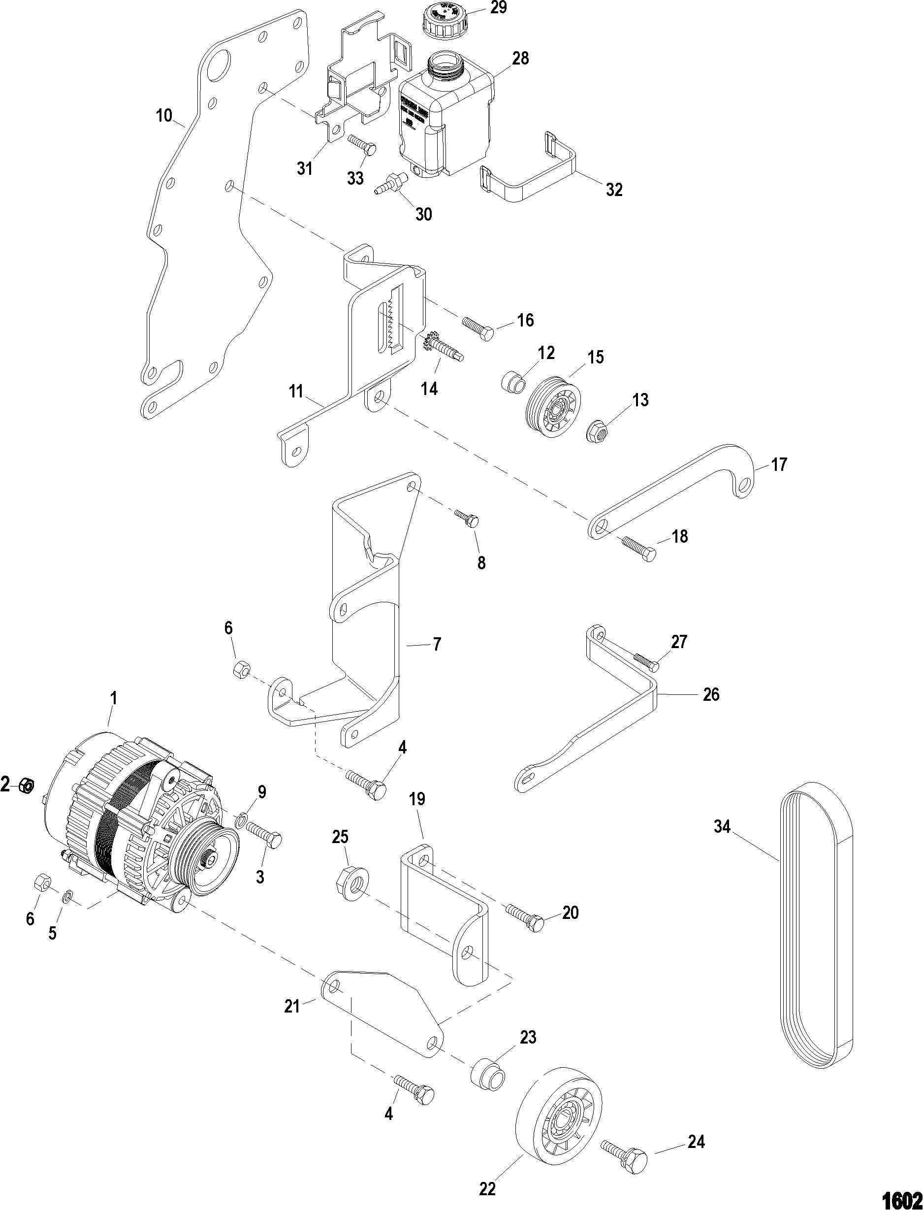 Alternator And Brackets FOR MERCRUISER 4.3L MPI ALPHA