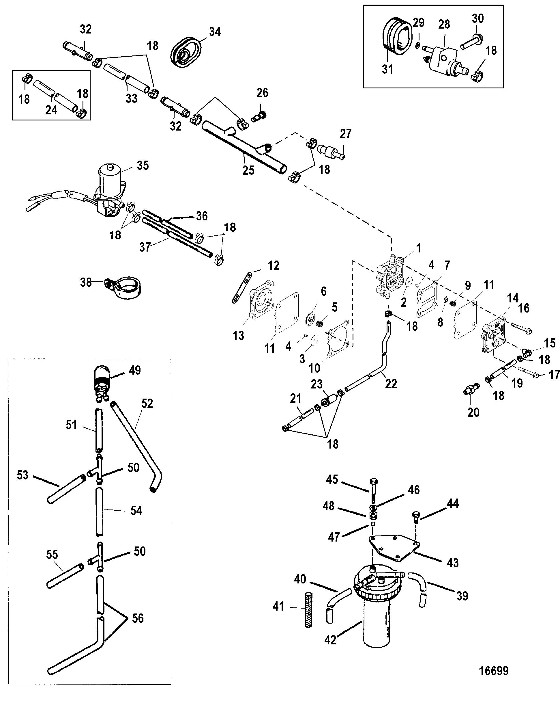 Fuel Pump FOR MARINER / MERCURY 75/90 HP 65 JET 3 CYLINDER