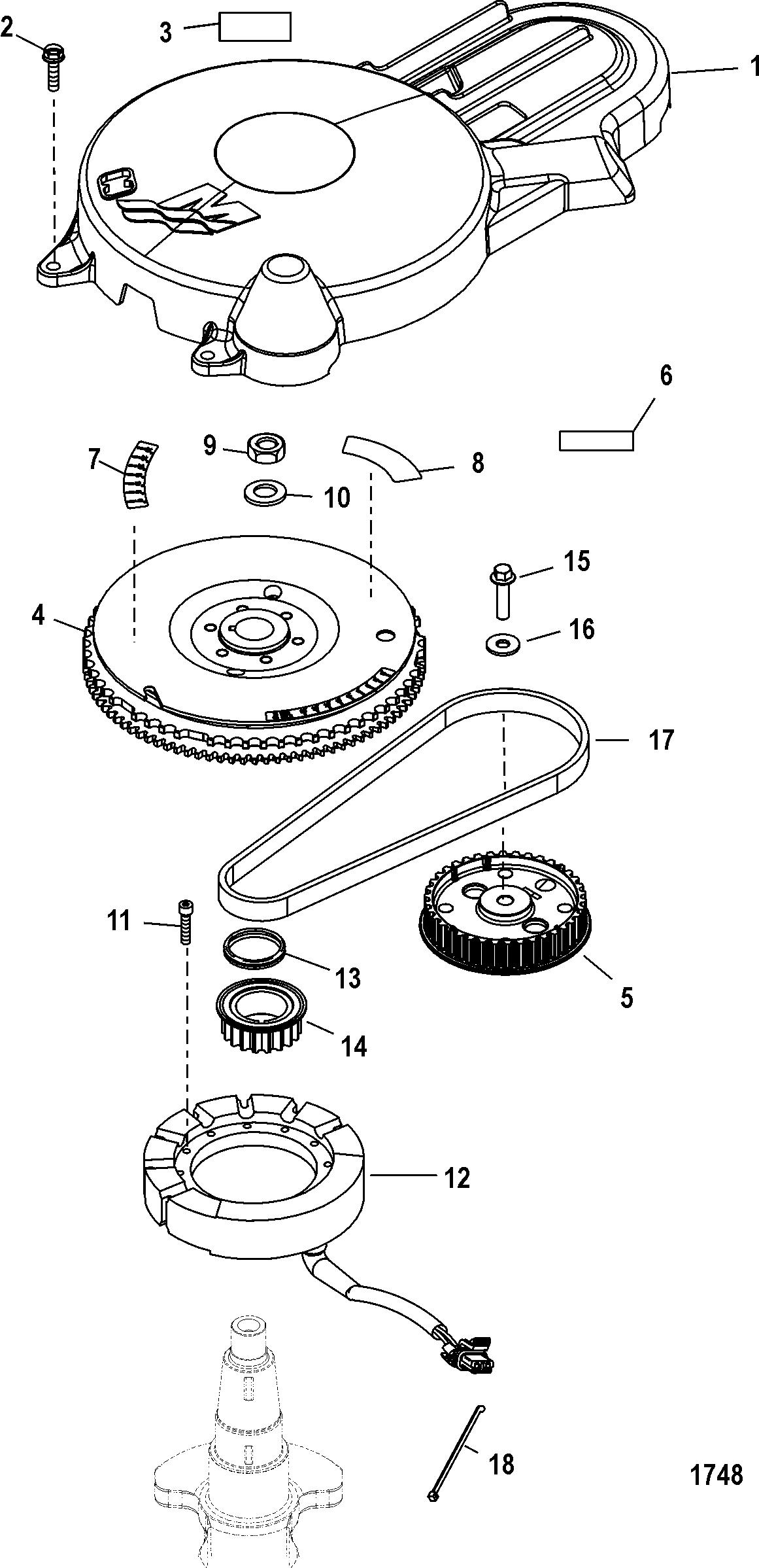Flywheel FOR MARINER / MERCURY 40/50/60 EFI 4 CYLINDER 4