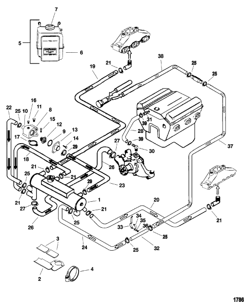 small resolution of closed cooling system for mercruiser 4 3l efi alpha bravo 2008 mini cooper coolant diagram mini