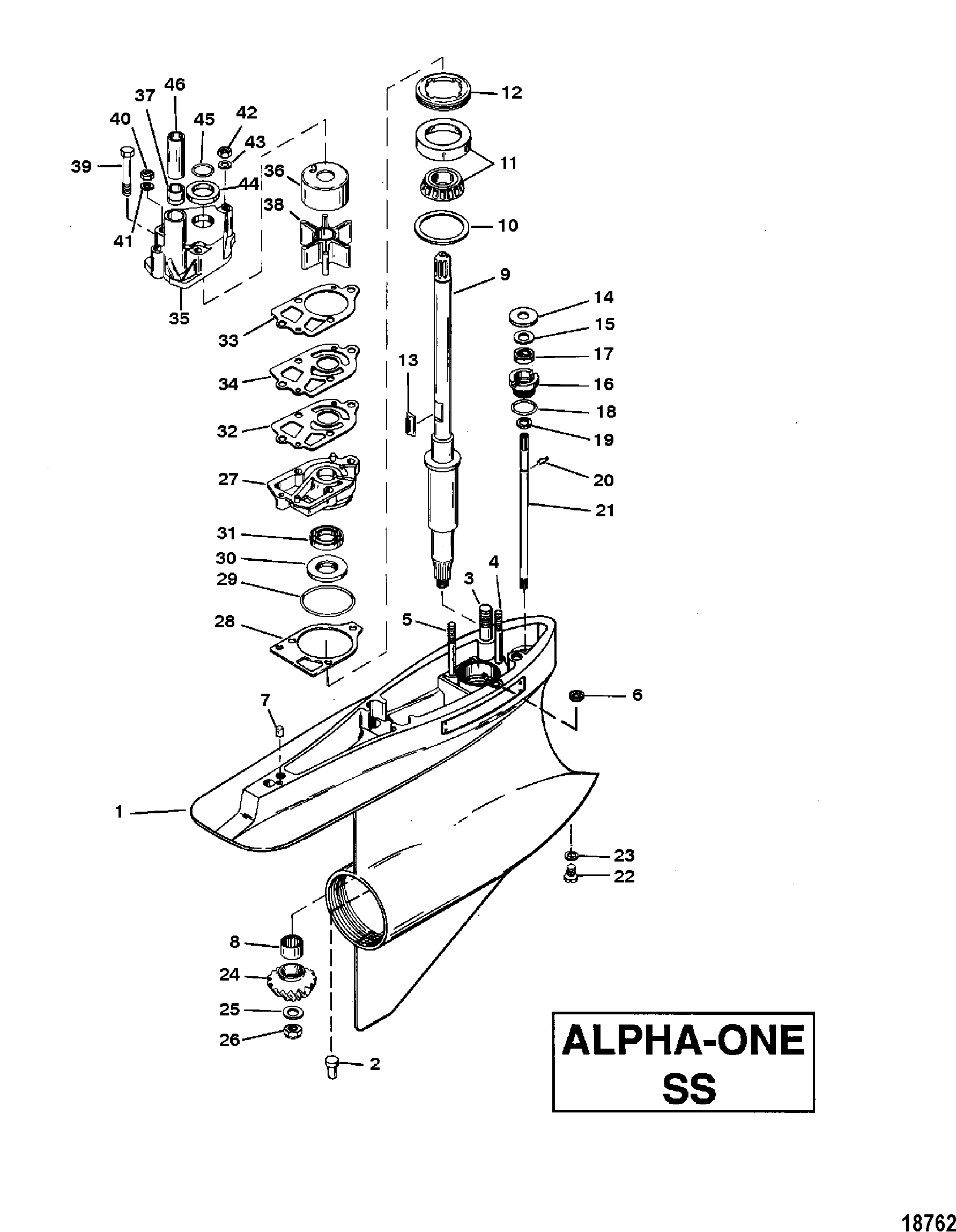GEAR HOUSING ASSY DRIVESHAFT ALPHA ONE-SS FOR MERCRUISER
