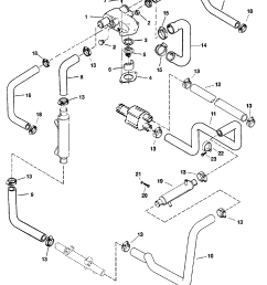 thermostat housing and hoses for mercruiser 454 502 mpi mag bravo gen vi  [ 1854 x 2336 Pixel ]