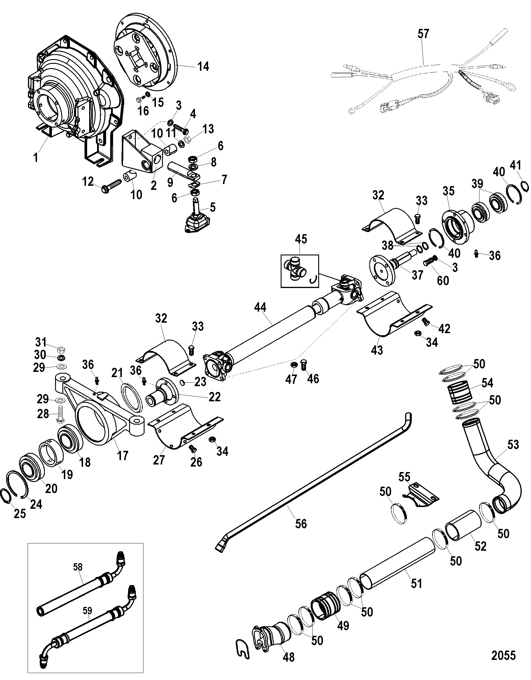 Jack Shaft Components For Mercruiser D1 7l Dti Sterndrive