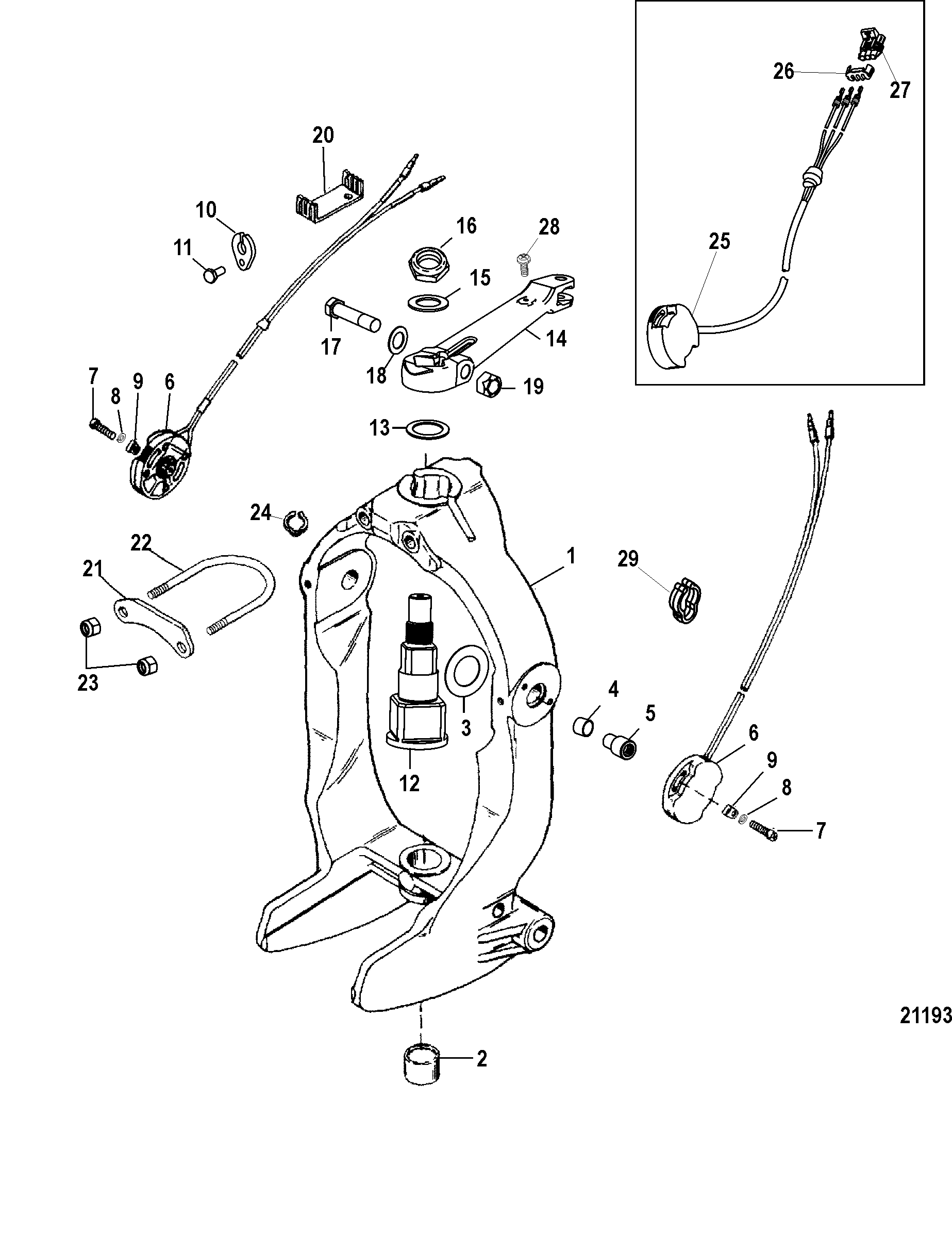 Gimbal Ring And Steering Lever For Mercruiser Bravo X I Ii Iii