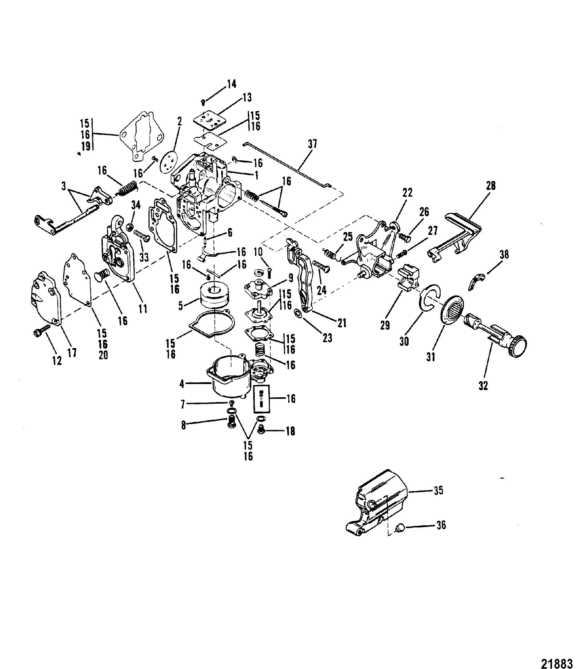 Carburetor Assembly XR10/Magnum 10 FOR MARINER / MERCURY