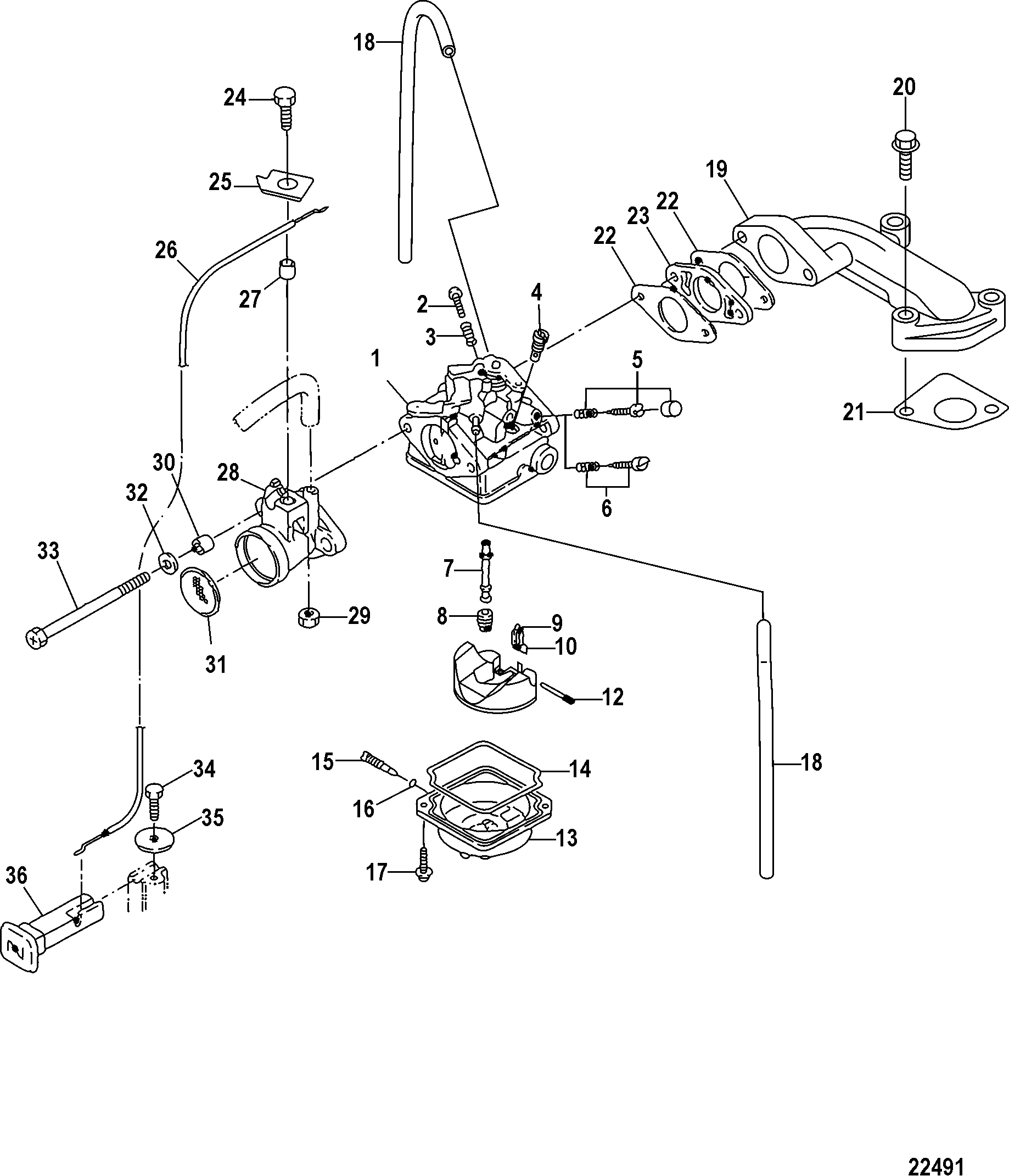 Carburetor, Serial # 0R318095 and Below FOR MARINER