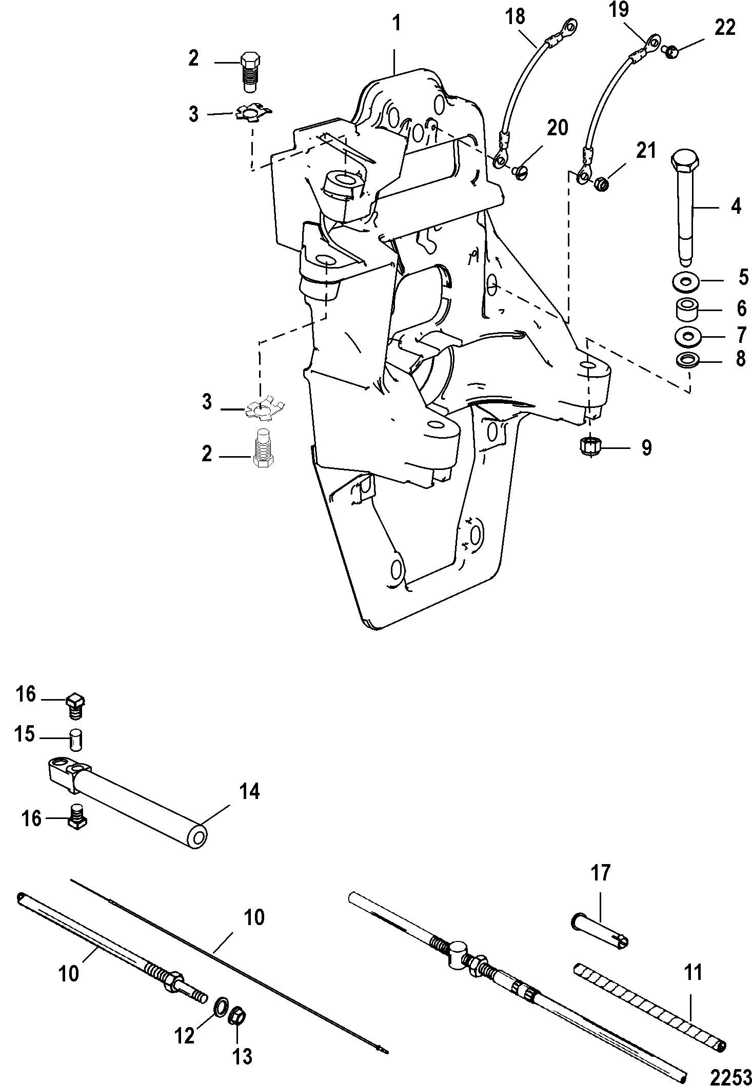 Transom Plate And Shift Cable For Mercruiser Bravo I