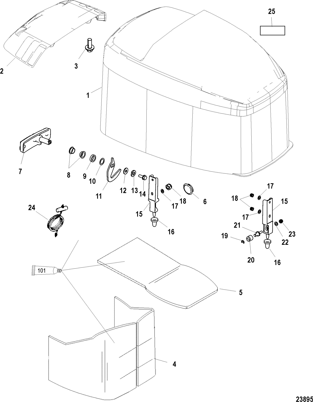 TOP COWL FOR MARINER / MERCURY 135/150/175/200 XR6/MAGNUM