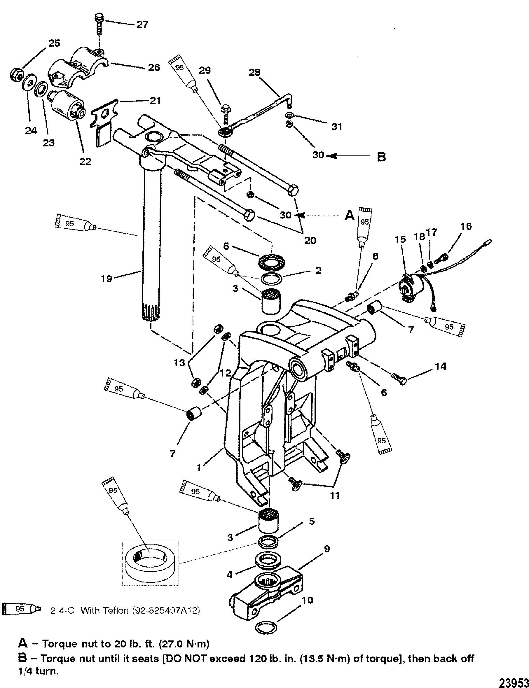 hight resolution of swivel bracket and steering arm for mariner mercury 225 250 efi 3 0l