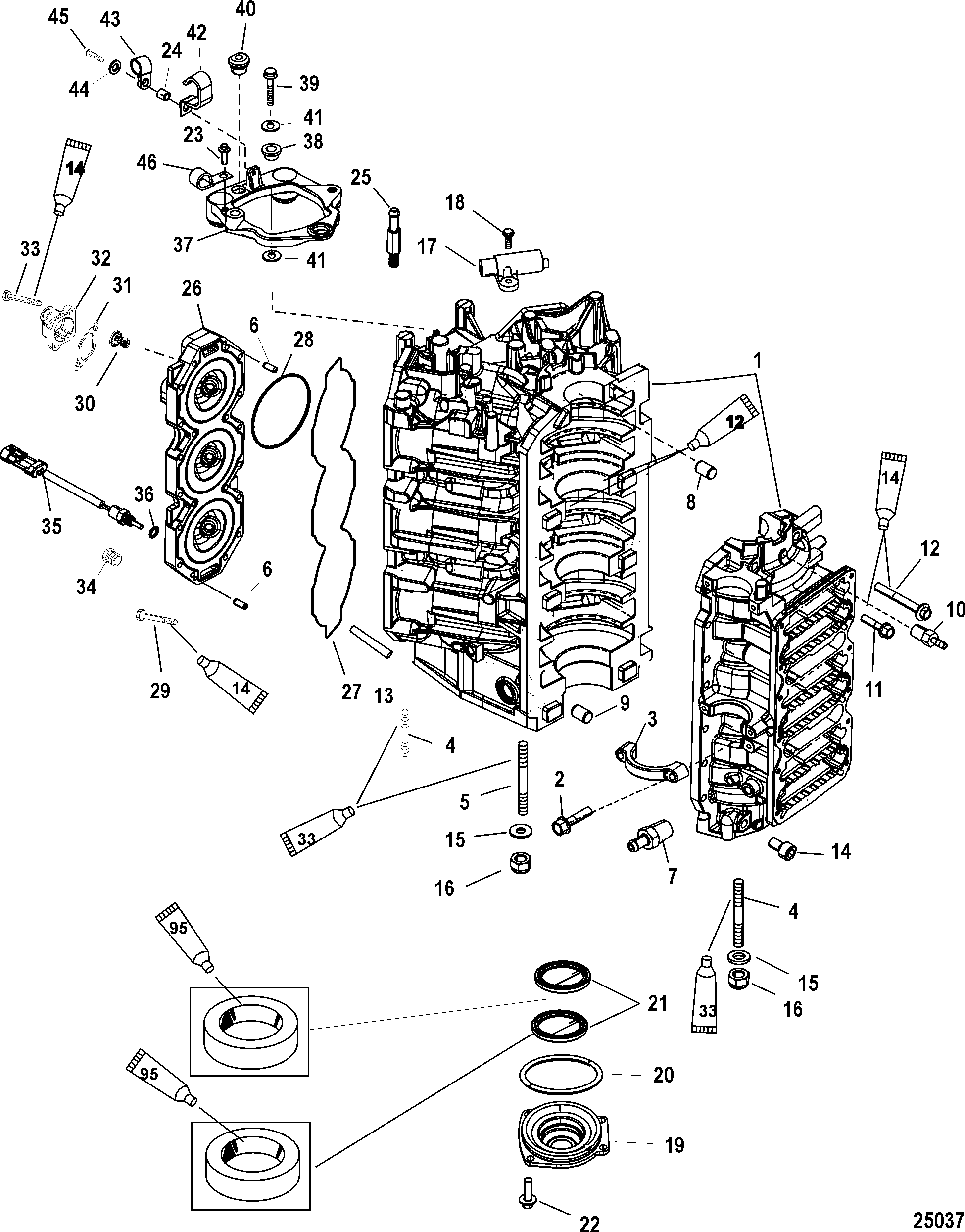 Cylinder Block and End Cap FOR MERCURY / RACE OUTBOARD