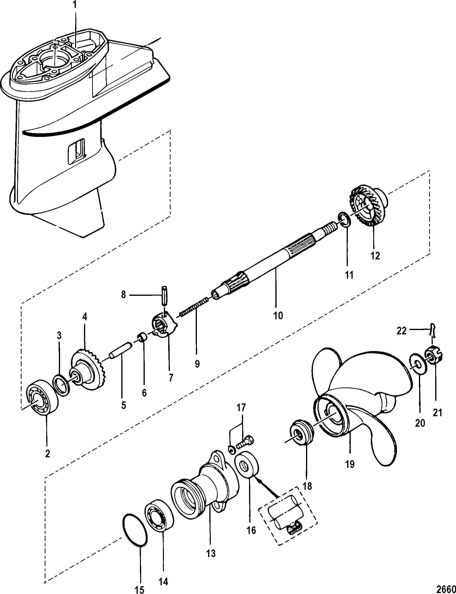 Gear housing propeller shaft non bigfoot for mariner mercury 8 9 9 209cc 4 stroke