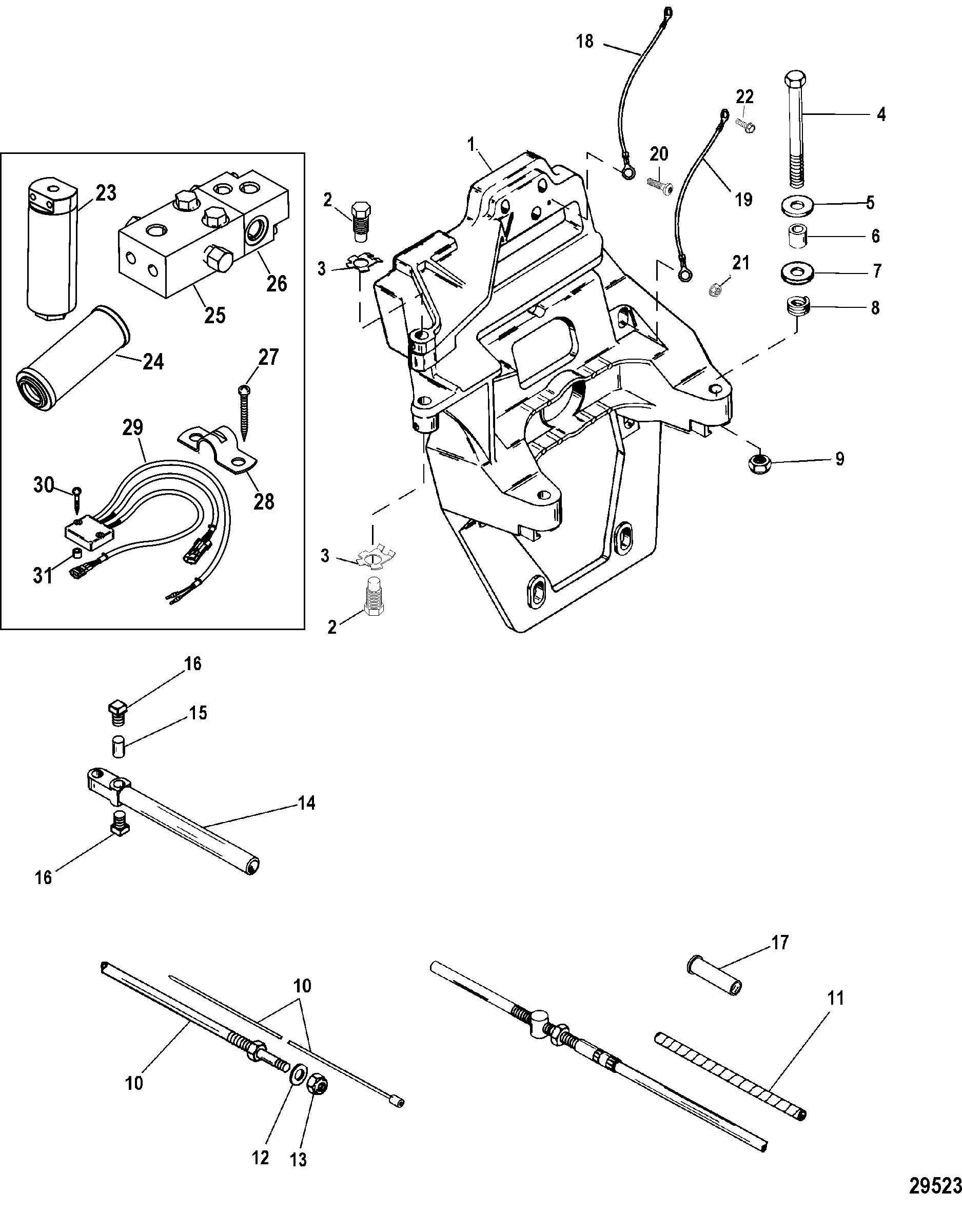 Transom Plate And Shift Cable FOR MERCRUISER / RACE