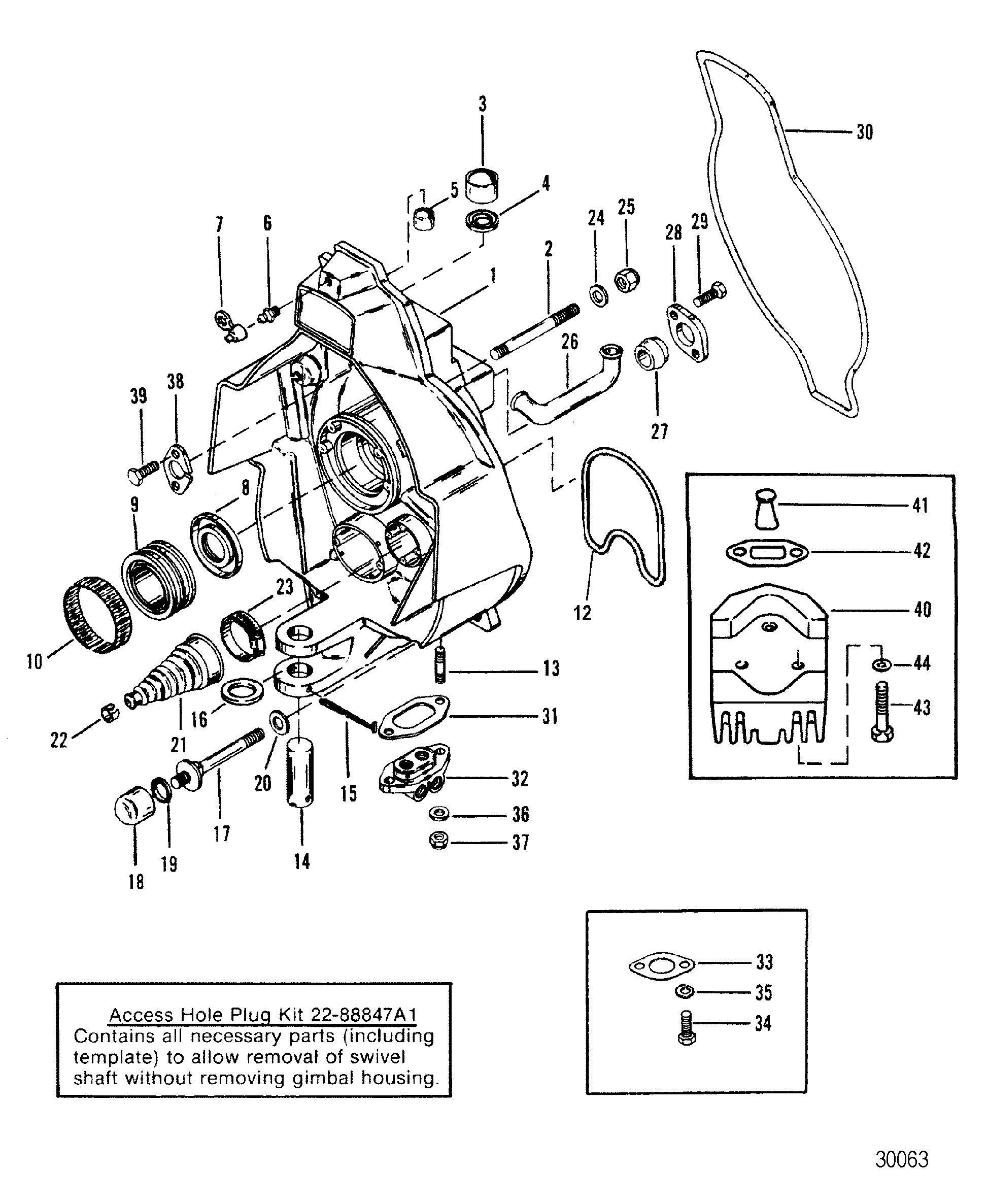 alpha one sterndrive parts diagram tibia and fibula blank gimbal housing square upper swivel shaft for