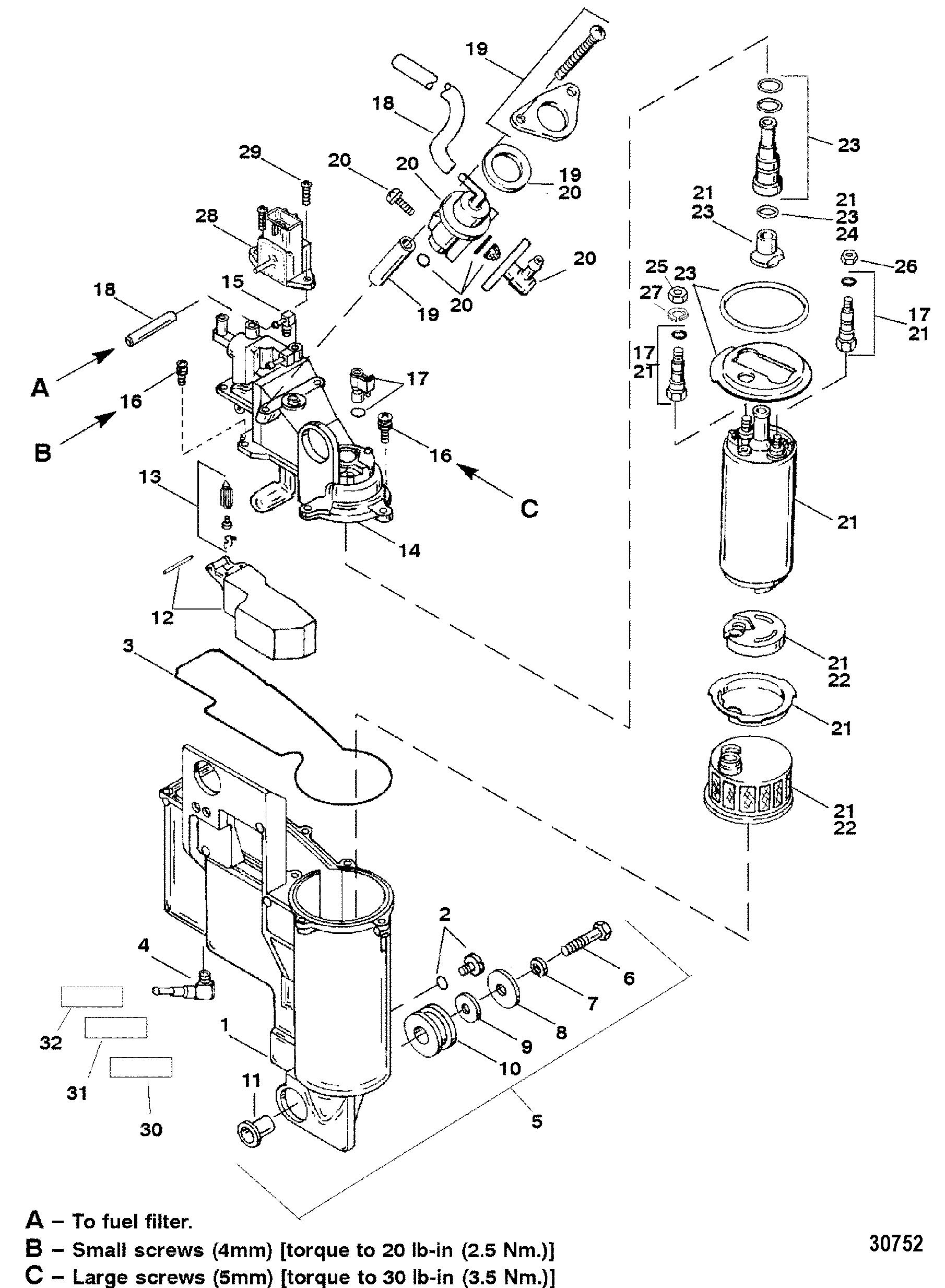 VAPOR SEPARATOR FOR MERCURY 250XB 3.0L EFI