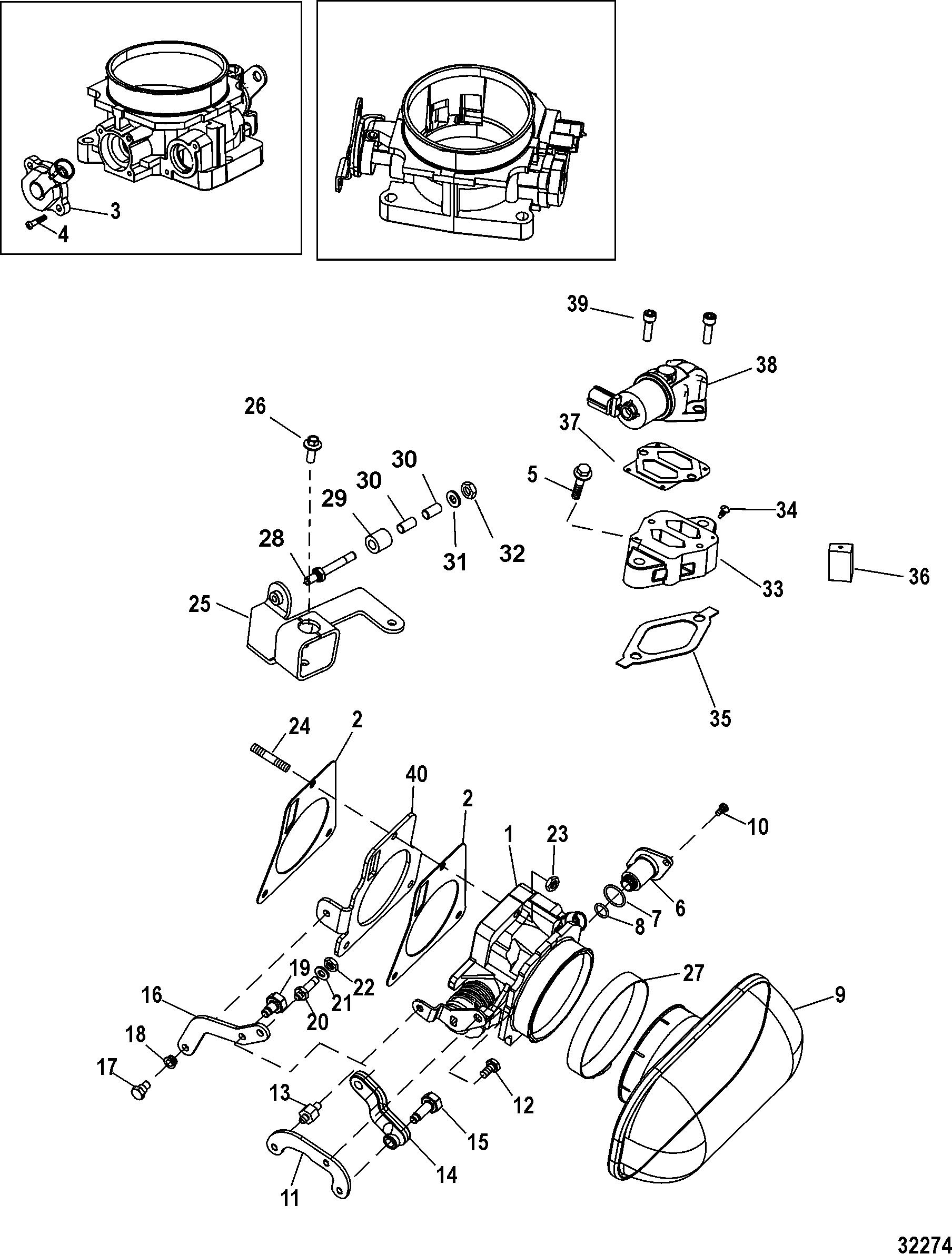Throttle Body, Mechanical Throttle-Shift FOR MERCRUISER